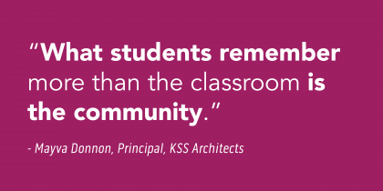 """""""What students remember more than the classroom is the community."""" -Mayva Donnon, Principal, KSS Architects"""
