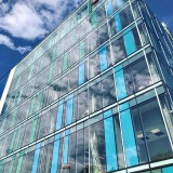 With window wall installation complete at Tangen Hall, the façade of this new academic building at  @uofpenn has come to life. Daylight and clouds move across the façade to illuminate the playful, vibrant color...